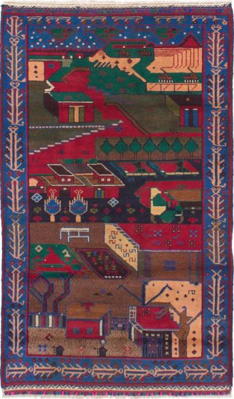 Bordered  Tribal Blue Area rug 3x5 Afghan Hand-knotted 278601