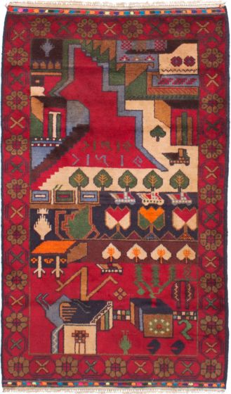 Bordered  Tribal Red Area rug 3x5 Afghan Hand-knotted 278602
