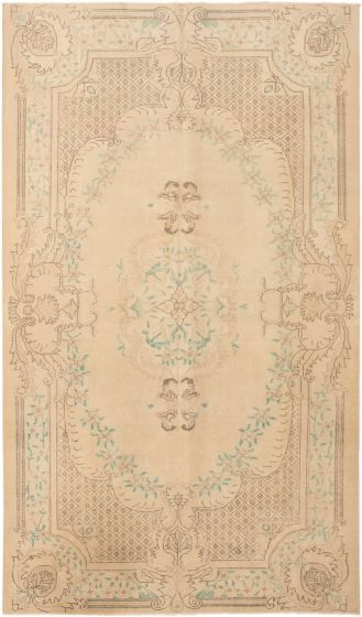 Bordered  Traditional Ivory Area rug 6x9 Turkish Hand-knotted 295906