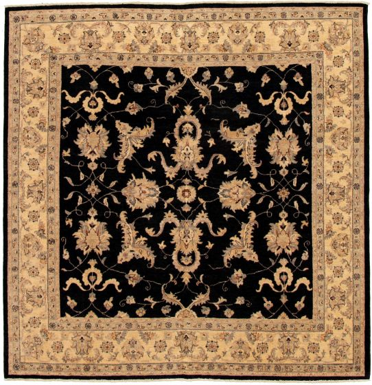 Bordered  Traditional Black Area rug Square Afghan Hand-knotted 330544