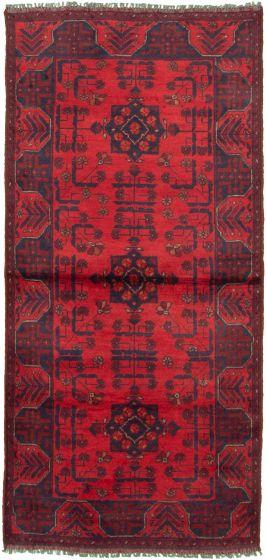 Bordered  Tribal Red Runner rug 6-ft-runner Afghan Hand-knotted 330307