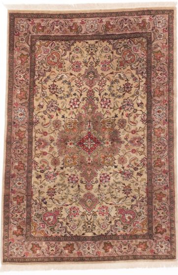 Traditional Yellow Area rug 3x5 Persian Hand-knotted 203984