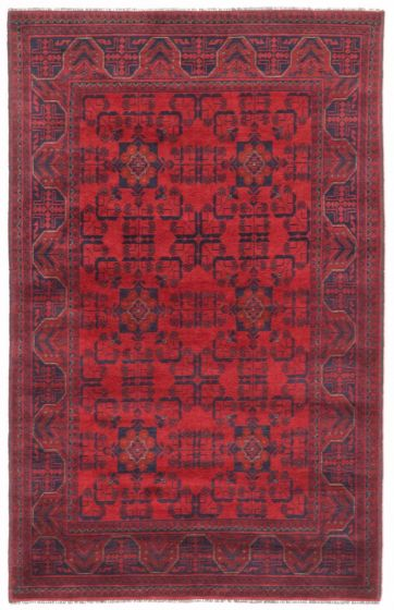 GeometricTribal Red Area rug 4x6 Afghan Hand-knotted 204463