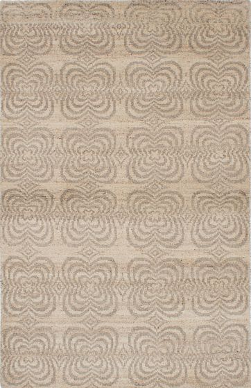 Transitional Ivory Area rug 5x8 Indian Hand-knotted 222084