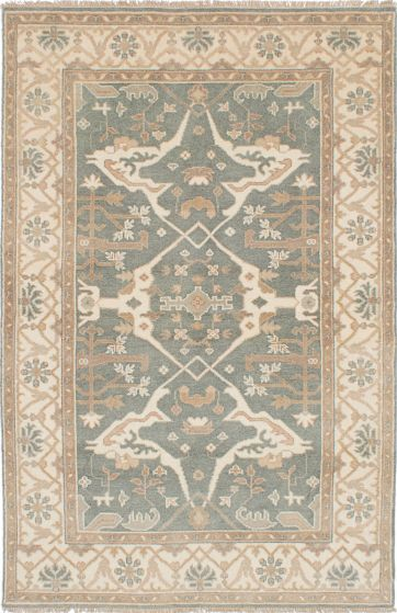 Traditional Blue Area rug 5x8 Indian Hand-knotted 223137