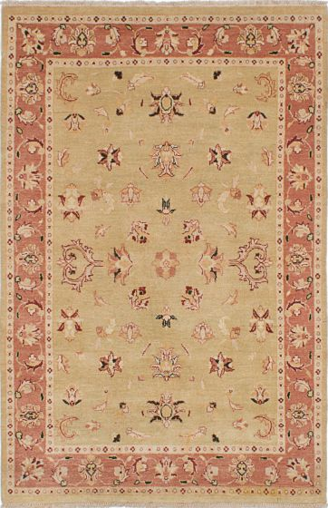 Traditional Yellow Area rug 3x5 Indian Hand-knotted 223802