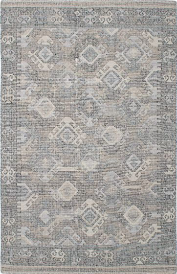 Transitional Grey Area rug 5x8 Indian Flat-weave 230535