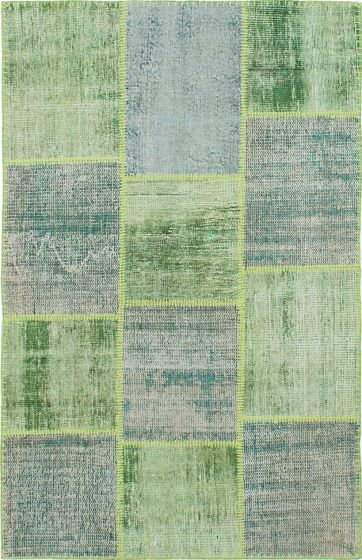 Transitional Green Area rug 3x5 Turkish Hand-knotted 231702