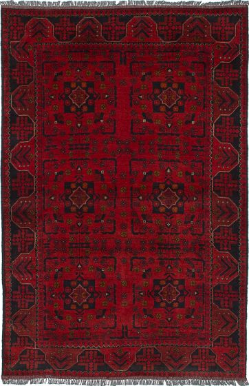 Traditional  Tribal Red Area rug 3x5 Afghan Hand-knotted 235720
