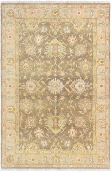 Bordered  Traditional Grey Area rug 5x8 Indian Hand-knotted 280432