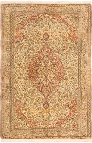 Bordered  Traditional Ivory Area rug 6x9 Turkish Hand-knotted 280886