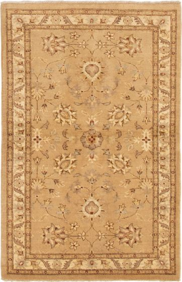 Bordered  Traditional Brown Area rug 3x5 Indian Hand-knotted 292998