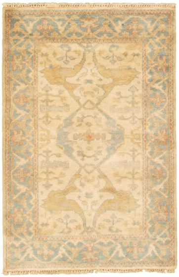 Bordered  Traditional Ivory Area rug 3x5 Indian Hand-knotted 313785