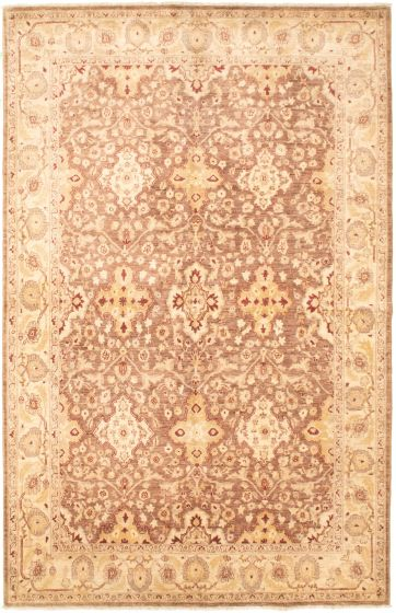 Bordered  Traditional Brown Area rug 5x8 Pakistani Hand-knotted 318308