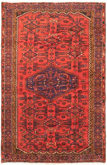 Bordered  Traditional Brown Area rug 4x6 Turkish Hand-knotted 320198