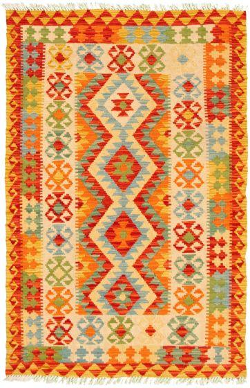 Bordered  Geometric Ivory Area rug 3x5 Turkish Flat-weave 330241