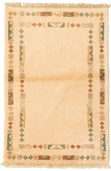 Bordered  Transitional Ivory Area rug 3x5 Pakistani Hand-knotted 331474