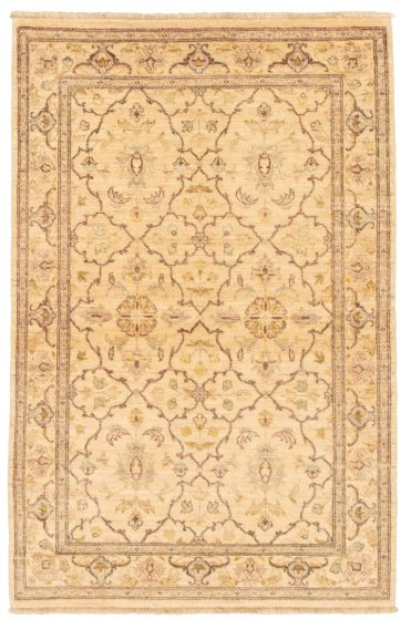 Bordered  Traditional Ivory Area rug 3x5 Afghan Hand-knotted 331593