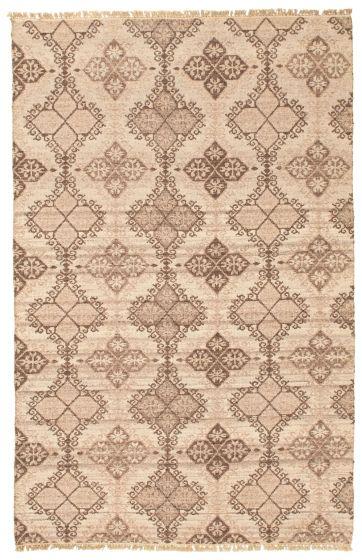 Flat-weaves & Kilims  Tribal Brown Area rug 5x8 Turkish Flat-weave 341231