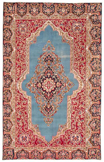 Bordered  Traditional Blue Area rug 6x9 Persian Hand-knotted 367147
