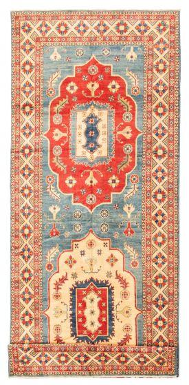 Bordered  Traditional Blue Runner rug 20-ft-runner Afghan Hand-knotted 348264