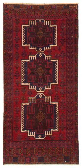 Geometric  Tribal Red Runner rug 6-ft-runner Afghan Hand-knotted 367542
