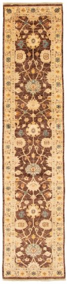 Bordered  Traditional Brown Runner rug 12-ft-runner Afghan Hand-knotted 331492