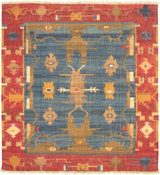 Bordered  Transitional Blue Area rug 8x10 Turkish Flat-weave 336033