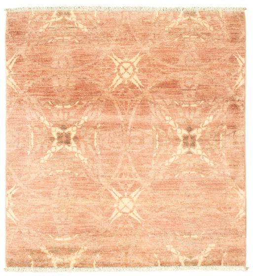 Traditional  Transitional Brown Area rug Square Pakistani Hand-knotted 342146