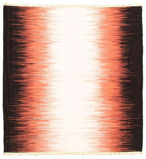 Flat-weaves & Kilims  Transitional Ivory Area rug Square Turkish Flat-weave 344431