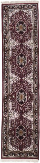 Traditional Red Runner rug 10-ft-runner Indian Hand-knotted 194684