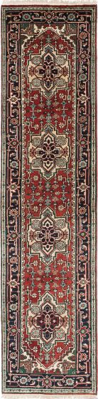 Floral  Traditional Red Runner rug 10-ft-runner Indian Hand-knotted 220332