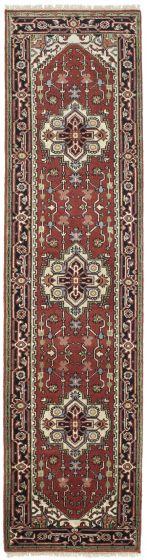 FloralTraditional Orange Runner rug 10-ft-runner Indian Hand-knotted 207271
