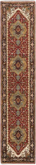 FloralTraditional Orange Runner rug 12-ft-runner Indian Hand-knotted 179698