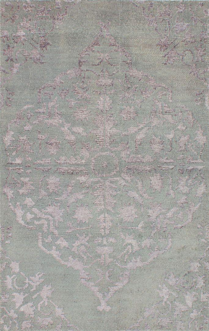 Indian La Seda 4 9 X 7 8 Hand Knotted Silk Wool Blue Rug Ecarpetgallery
