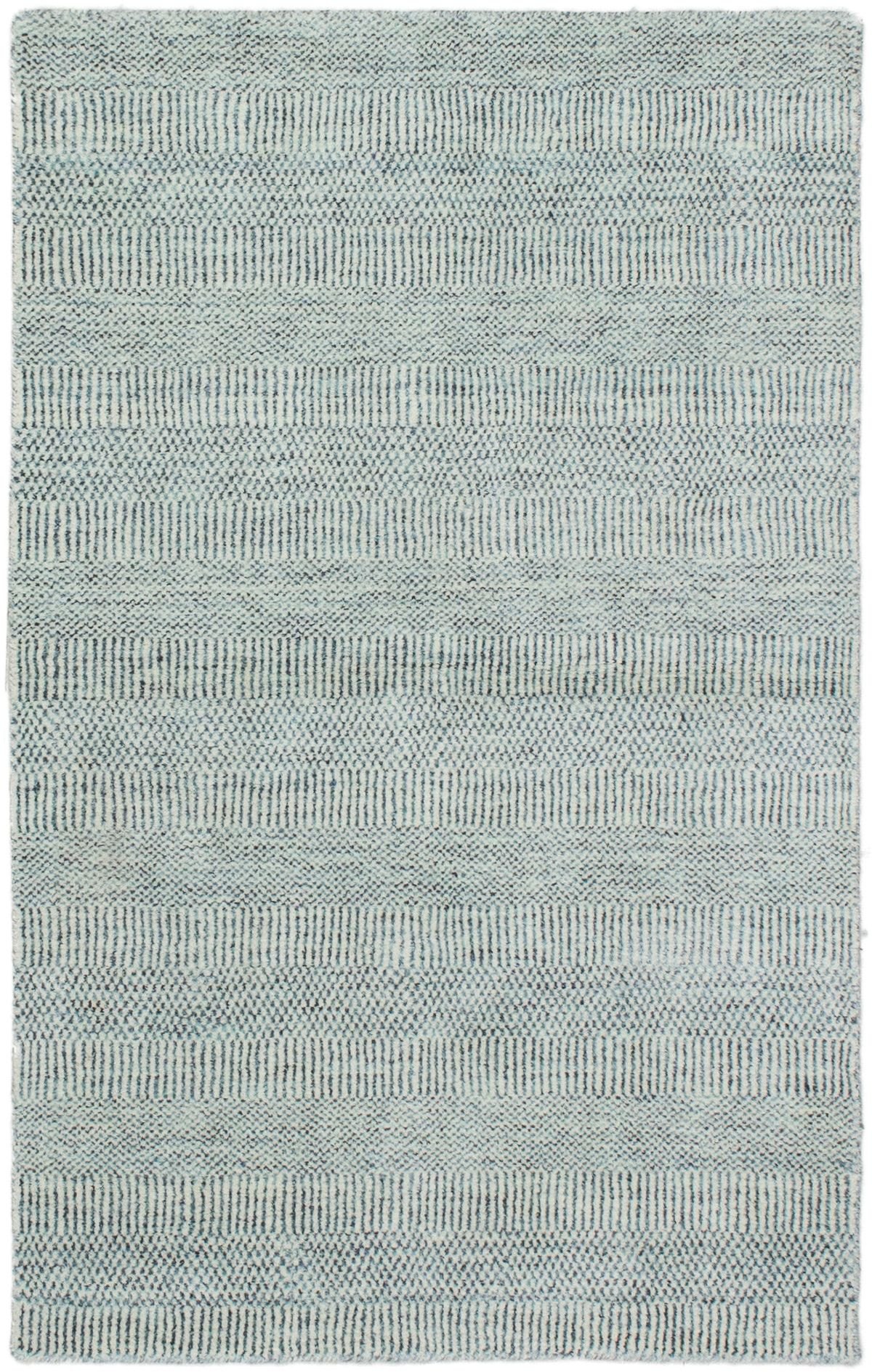 Indian Pearl 3 0 X 5 0 Hand Knotted Viscose Wool Blue Rug Ecarpetgallery