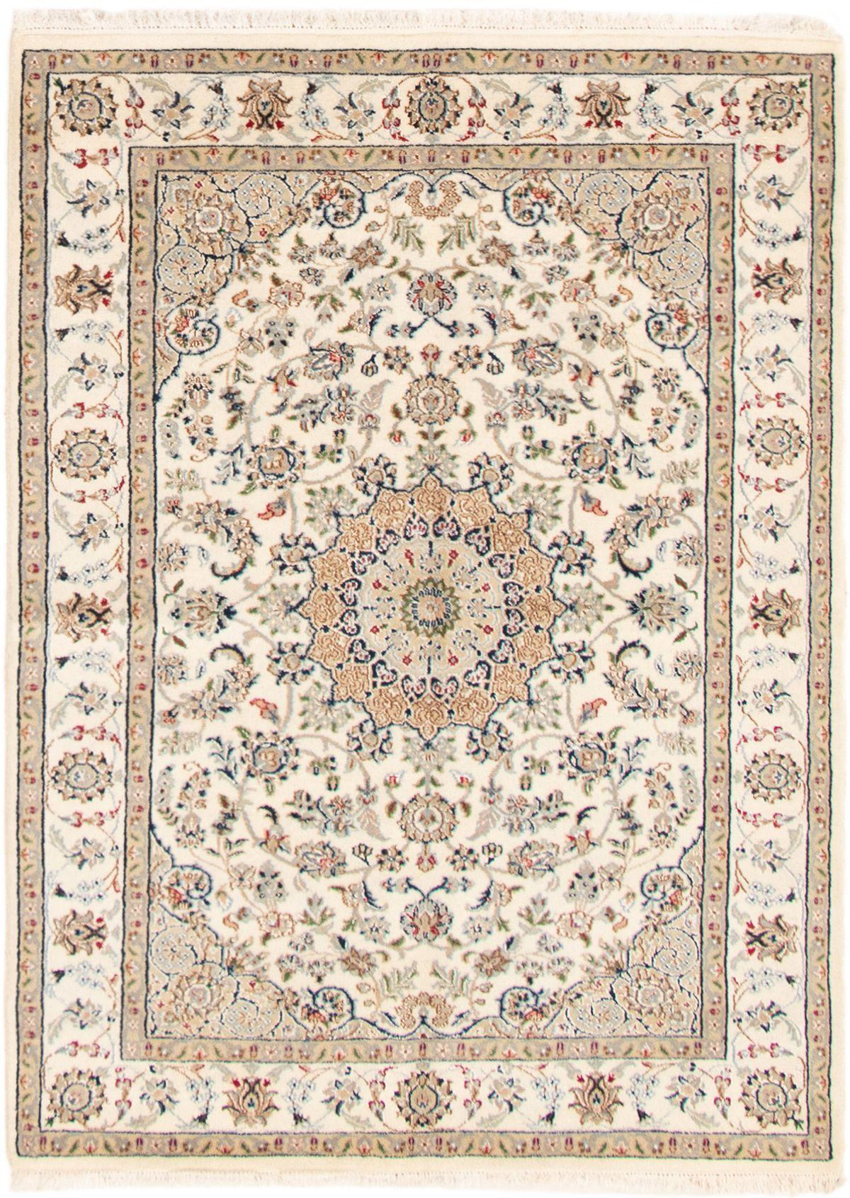 Persian Nain 9la 4 9 X 6 5 Hand Knotted Silk Wool Ivory Rug Ecarpetgallery
