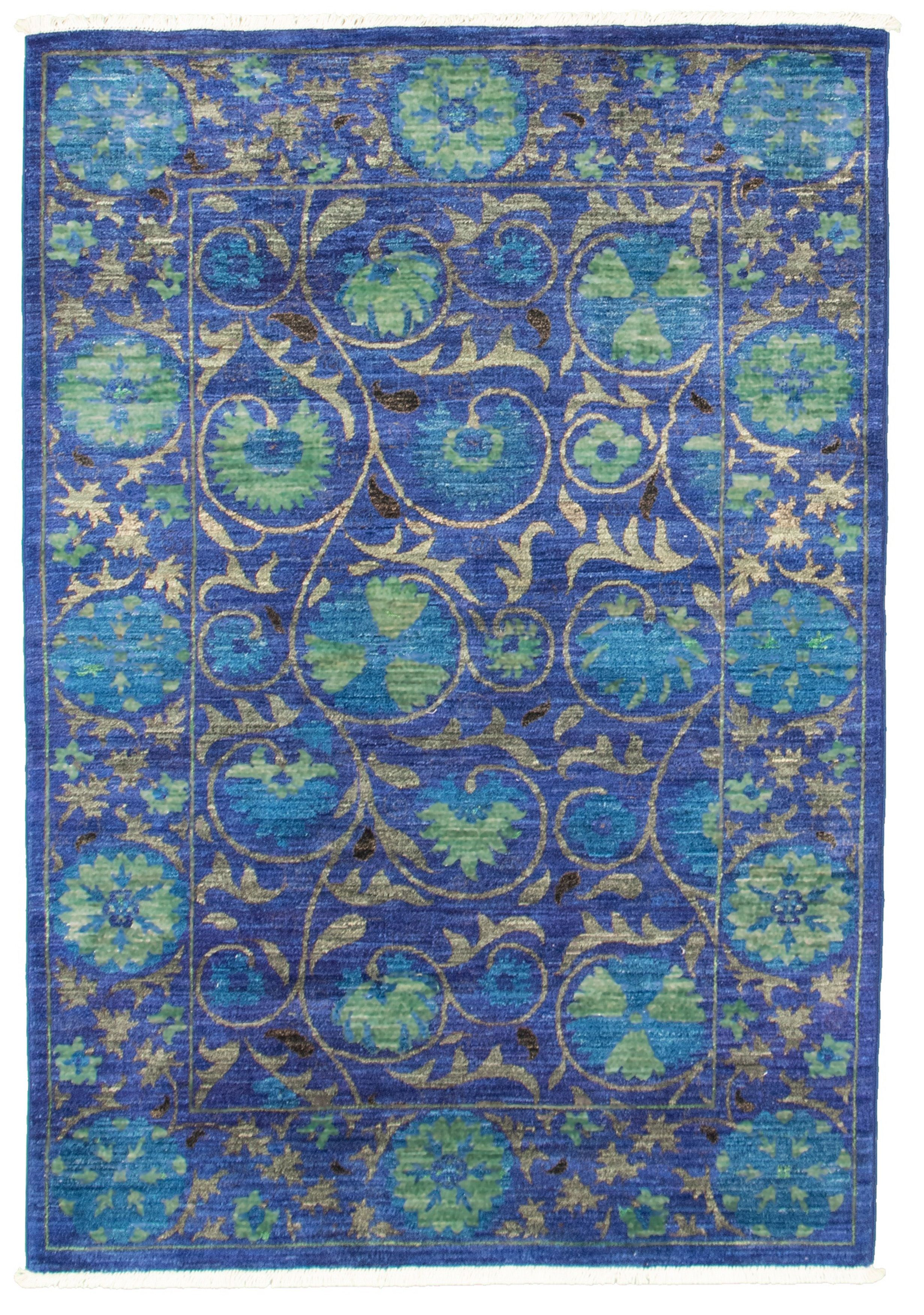 Pakistani Signature Collection 4 0 X 6 0 Hand Knotted Wool Blue Rug Ecarpetgallery