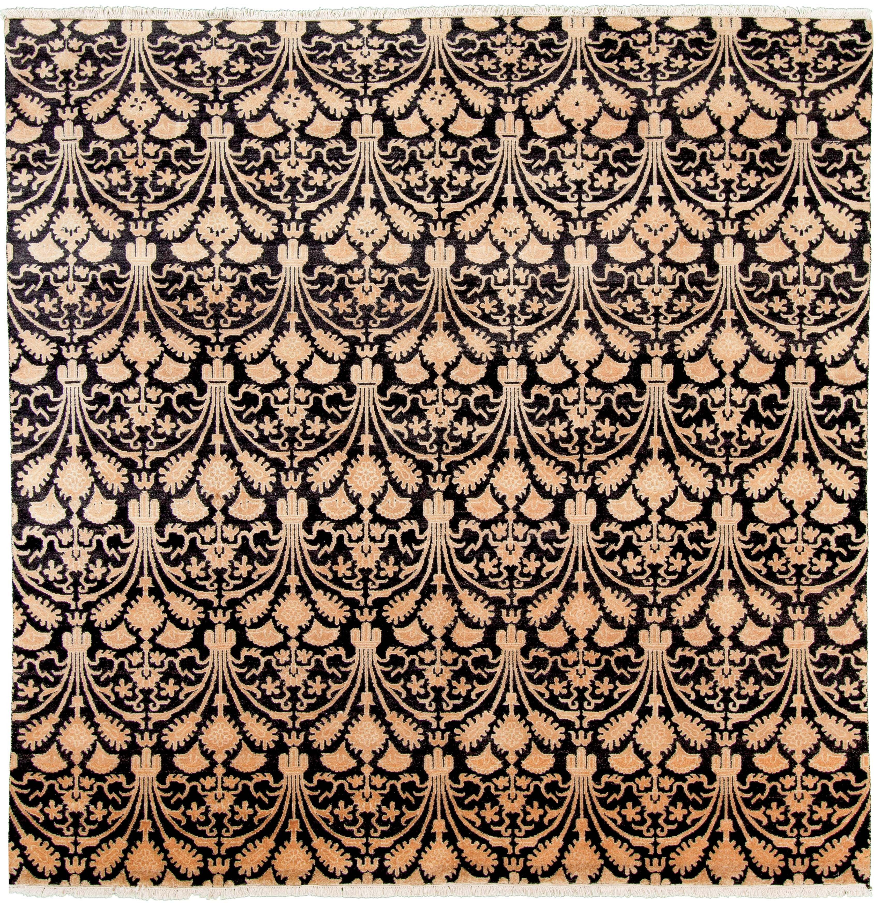 Indian Shalimar 7 8 X 7 9 Hand Knotted Wool Black Rug Ecarpetgallery
