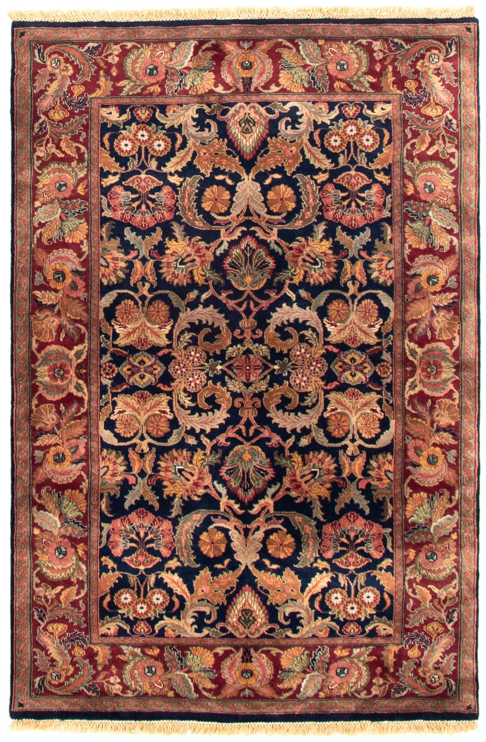 Indian British Raj 3 11 X 6 0 Hand Knotted Wool Dark Navy Rug Ecarpetgallery