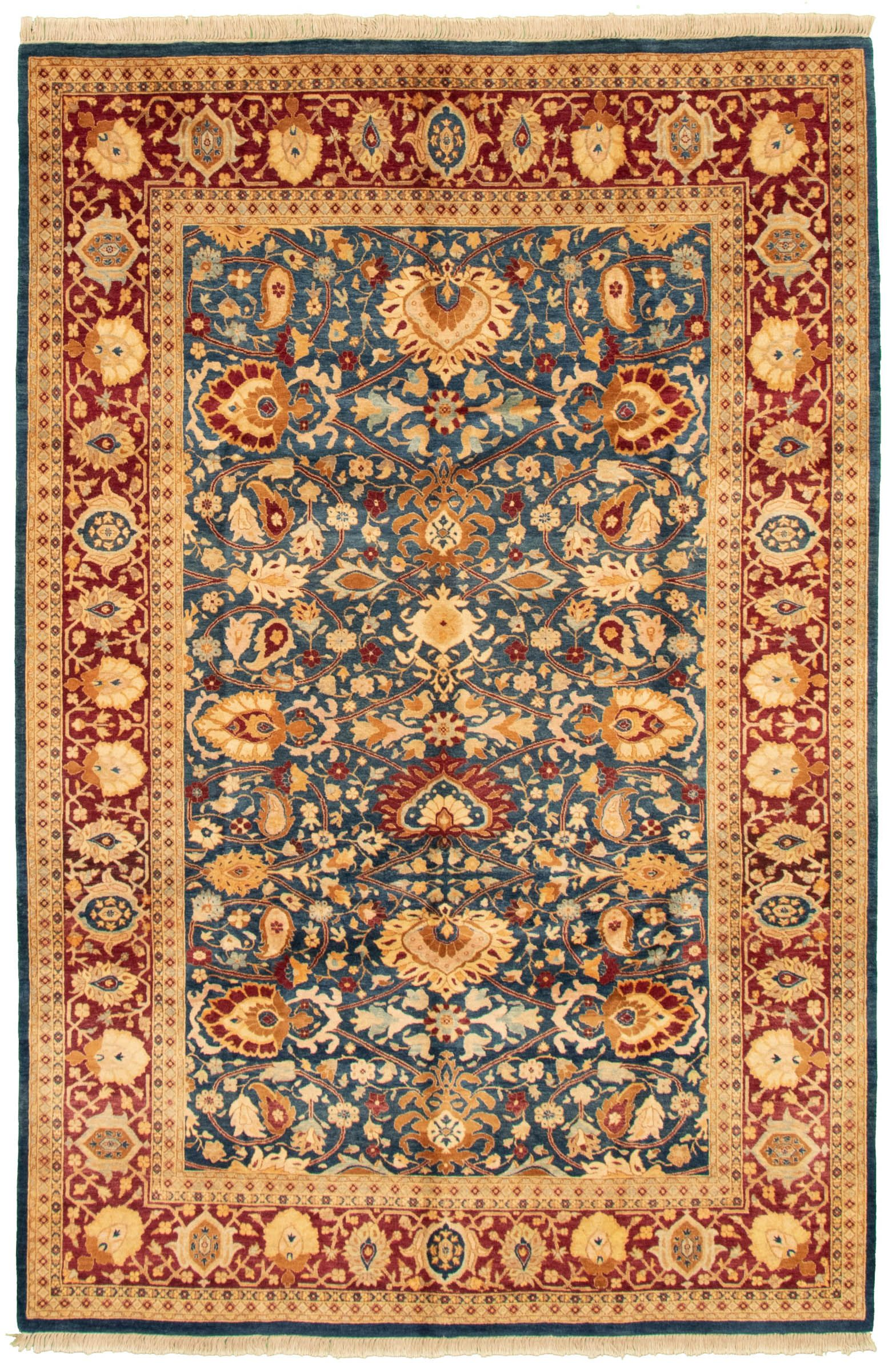 Pakistani Pako Persian 18 20 6 0 X 9 1 Hand Knotted Wool Dark Blue Rug Ecarpetgallery