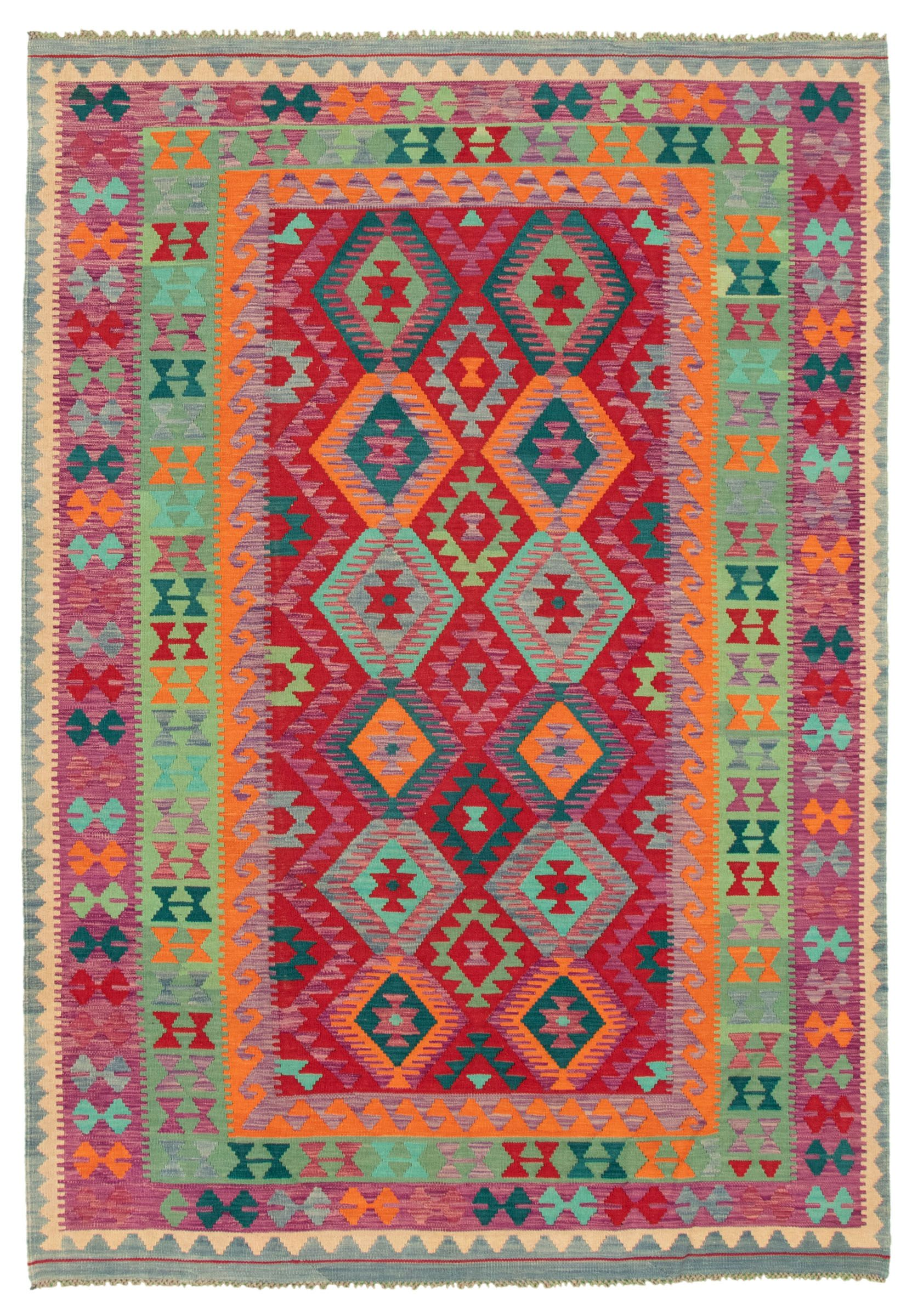 Turkish Bold And Colorful 6 9 X 9 7 Flat Weave Wool Dark Red Kilim Ecarpetgallery