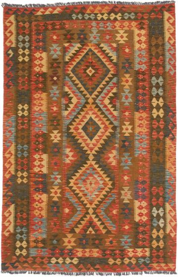 Traditional Brown Area rug 5x8 Turkish Flat-weave 191969