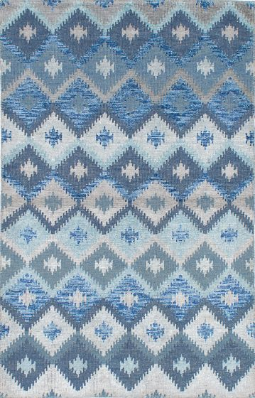 Transitional Blue Area rug 5x8 Indian Hand-knotted 222039