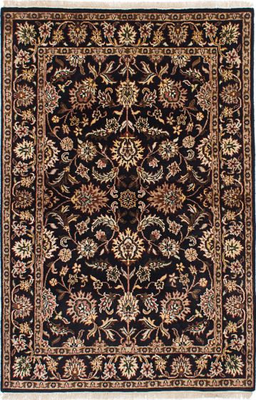 Traditional Black Area rug 3x5 Indian Hand-knotted 228095