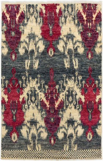 Casual  Transitional Grey Area rug 3x5 Indian Hand-knotted 279995