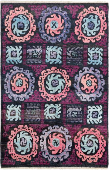 Casual  Transitional Black Area rug 5x8 Indian Hand-knotted 280639
