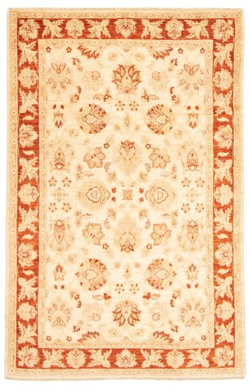 Bordered  Traditional Ivory Area rug 6x9 Afghan Hand-knotted 331521