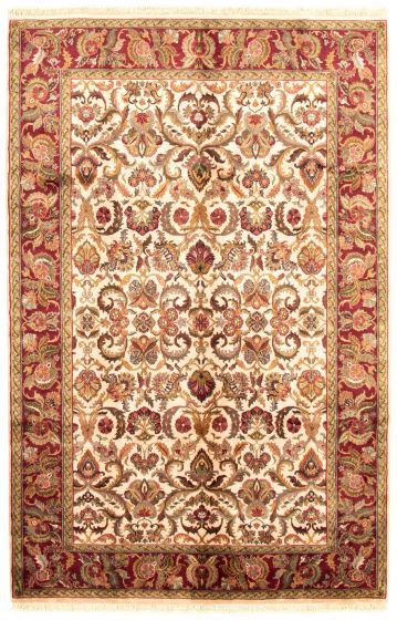 Bordered  Traditional Ivory Area rug 5x8 Indian Hand-knotted 335491