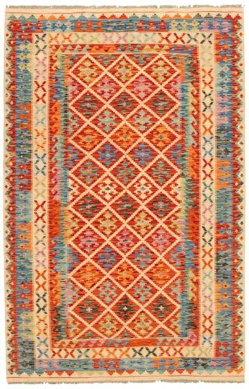 Bohemian  Geometric Red Area rug 5x8 Turkish Flat-weave 336766